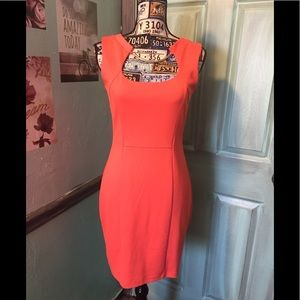 Jennifer Lopez Coral Fitted Dress with Bar Neck